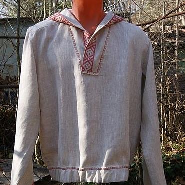 Одежда ручной работы. Ярмарка Мастеров - ручная работа Рубашка из льна с капюшоном Жива. Handmade.