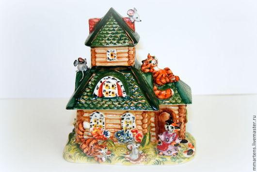 """Шкатулки ручной работы. Ярмарка Мастеров - ручная работа. Купить Фарфоровый домик """"Кошкин Дом"""". Handmade. Разноцветный, мышки"""