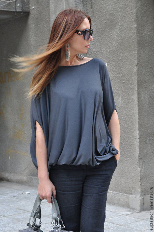 Темно-серая блузка. Блузка свободного кроя. Ярмарка Мастеров - ручная работа.