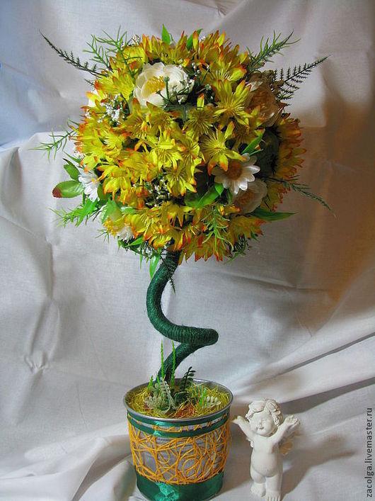 Топиарии ручной работы. Ярмарка Мастеров - ручная работа. Купить Топиарий цветочный.. Handmade. Желтый, горшок, подарок, искусственные цветы