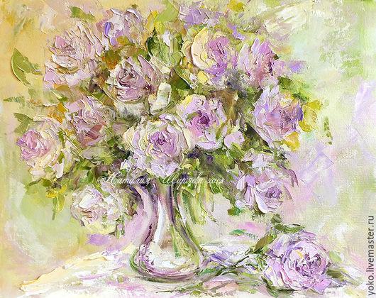"""Картины цветов ручной работы. Ярмарка Мастеров - ручная работа. Купить """"Букет Роз в Пастельных Тонах"""" авторская картина маслом. Handmade."""