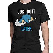 "Одежда handmade. Livemaster - original item Футболка хлопковая ""Покемон Снорлакс - Just Do It Later"". Handmade."