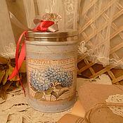 """Посуда ручной работы. Ярмарка Мастеров - ручная работа баночка"""" Голубые гортензии"""". Handmade."""