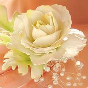 Свадебный салон ручной работы. Ярмарка Мастеров - ручная работа Белая роза в прическу невесты. Handmade.