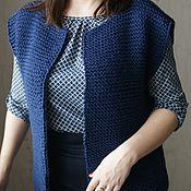 """Одежда ручной работы. Ярмарка Мастеров - ручная работа Вязаный жилет """"Rich blue"""". Handmade."""