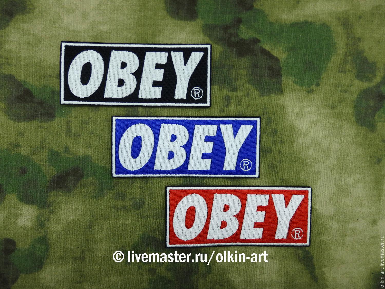 stripe OBEY (black / blue / red) Beloretskiy stripe. Patch. Chevron. Patch. Embroidery. logo. logo. design. Chevrons. Patches. Stripe. Buy patch.