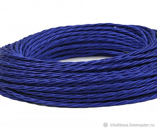 Провод витой для наружной проводки 2х0,75 синий шелк, Дизайн, Москва,  Фото №1