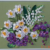 """Картины и панно ручной работы. Ярмарка Мастеров - ручная работа Картина лентами """"Приглашение в весну"""". Handmade."""