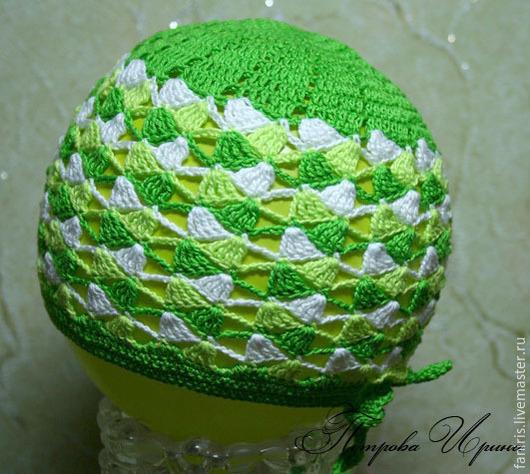 Шапки и шарфы ручной работы. Ярмарка Мастеров - ручная работа. Купить Шапочка летняя. Handmade. Зеленый, белый, шапочка, для детей