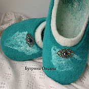 """Обувь ручной работы. Ярмарка Мастеров - ручная работа Валяные тапочки """"Жемчуг"""". Handmade."""