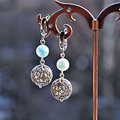 handmade. Livemaster - original item Silver earrings with aquamarine. Handmade.