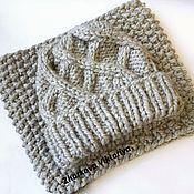 Аксессуары ручной работы. Ярмарка Мастеров - ручная работа Комплект шапка + шарф-снуд серый. Handmade.