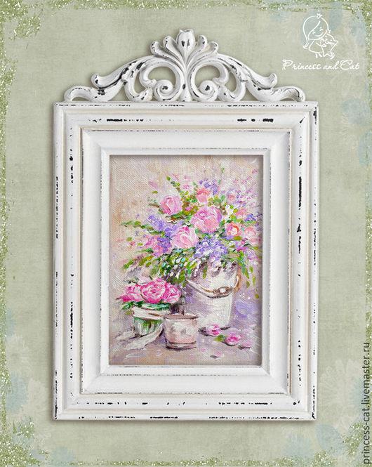 """Картины цветов ручной работы. Ярмарка Мастеров - ручная работа. Купить Натюрморт """"Шебби романтика"""". Handmade. Картина цветов"""