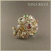 Винтаж ручной работы. Ярмарка Мастеров - ручная работа Nina Ricci,винтажная брошь Букет любимой,80-е годы. Handmade.
