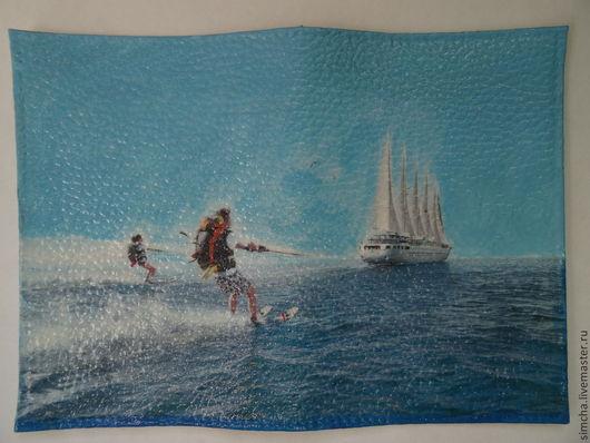Обложки ручной работы. Ярмарка Мастеров - ручная работа. Купить Кожаная обложка для паспорта. На водных лыжах. Handmade. Яхта