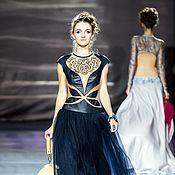 Одежда ручной работы. Ярмарка Мастеров - ручная работа Вечернее платье из натуральной кожи и фатина. Handmade.