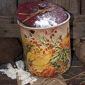 """Для дома и интерьера ручной работы. Ярмарка Мастеров - ручная работа Урожай тыквы"""" банка с крышкой  в стиле Кантри,для кухни. Handmade."""