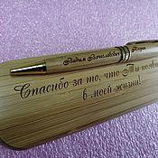 Канцелярские товары handmade. Livemaster - original item Wooden handle with engraving, gift, souvenir, any design. Handmade.