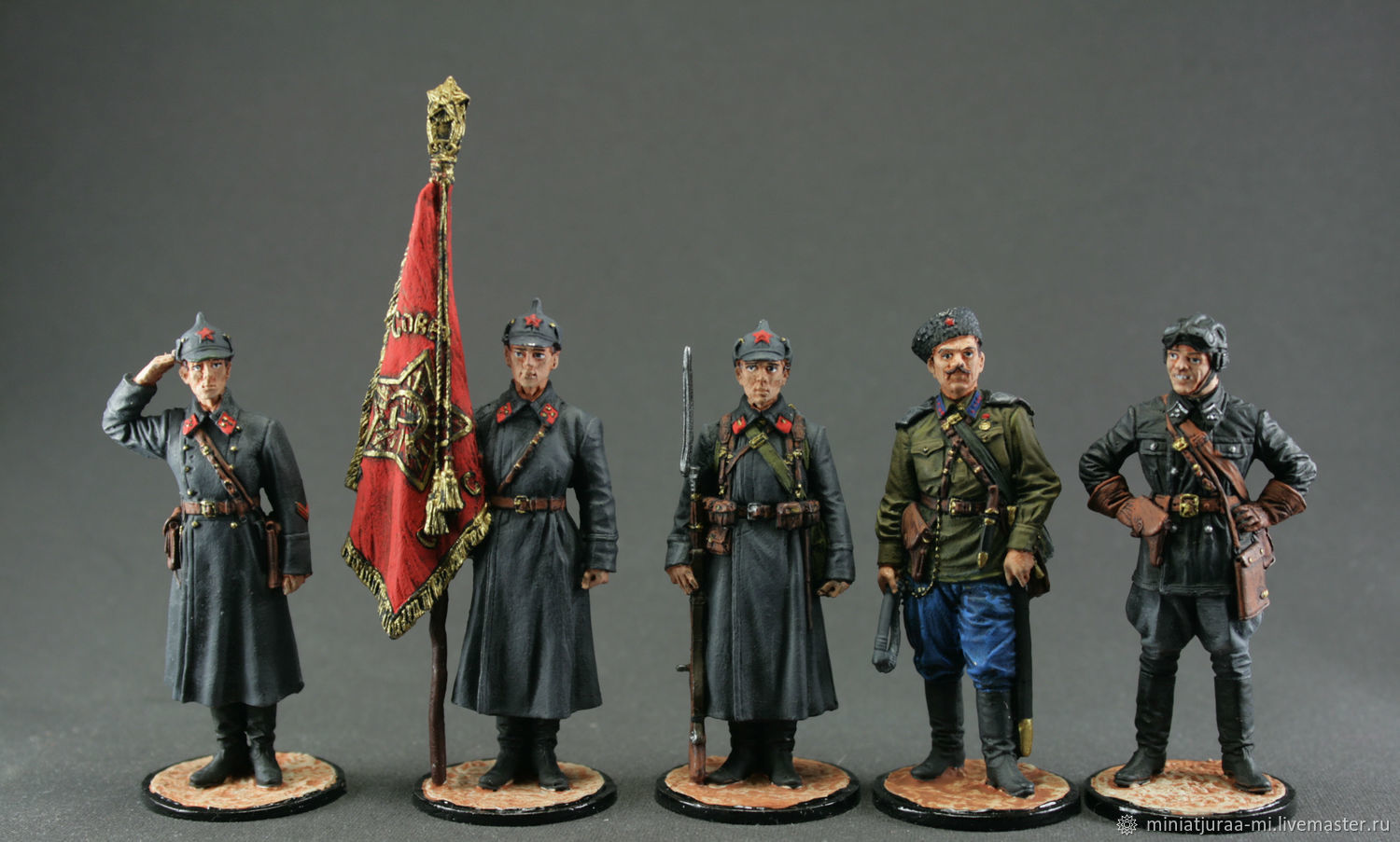 Tin soldier 54mm. Set of 5 PCs. World War II USSR. WWII. The red army, Military miniature, St. Petersburg,  Фото №1