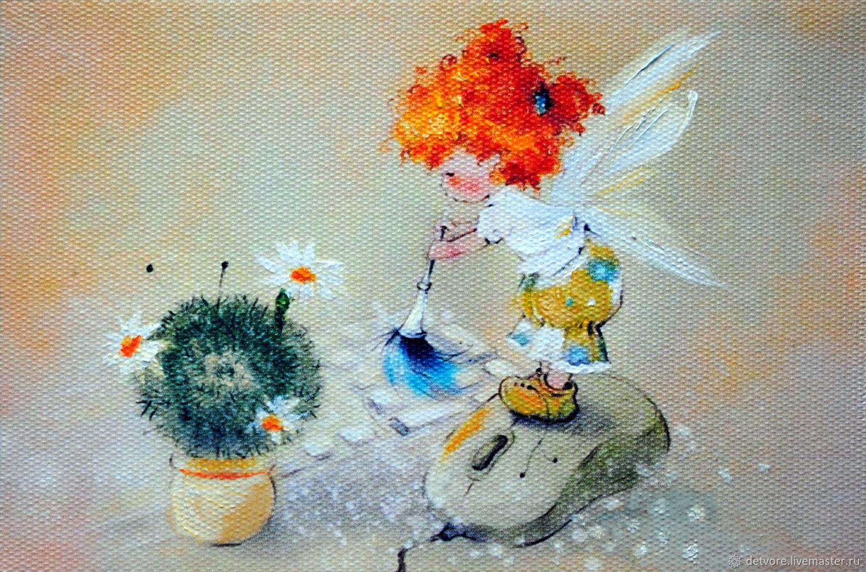 """Картина маслом """"Компьютерный ангелочек"""", Картины, Таганрог,  Фото №1"""