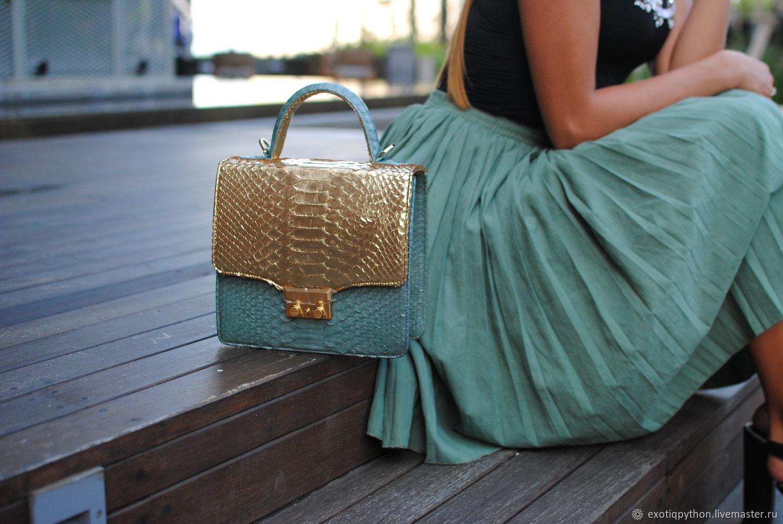 Python skin bag Gold Dreams, Classic Bag, Moscow,  Фото №1