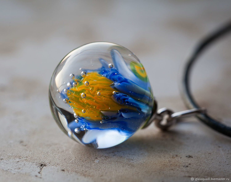 Drop pendant ' Yellow on blue', Pendants, Moscow,  Фото №1