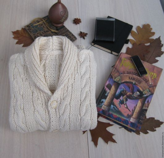 Одежда для мальчиков, ручной работы. Ярмарка Мастеров - ручная работа. Купить Молочный кардиган из хлопка. Handmade. Белый, кардиган вязаный