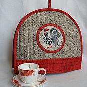 """Для дома и интерьера ручной работы. Ярмарка Мастеров - ручная работа Грелка на чайник """" Петушки"""" серая. Handmade."""