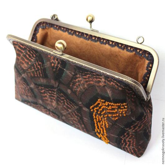 Вечерняя сумочка-клатч с фермуаром Перо фазана, вечерний клатч Сумочка вмещает паспорт, телефон, кошелек, небольшую щетку для волос, ключи и другие нужности.
