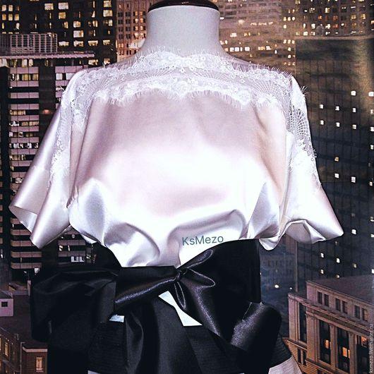 """Блузки ручной работы. Ярмарка Мастеров - ручная работа. Купить Блузка""""Шёлк с кружевом"""" белая чёрная с коротким рукавом.. Handmade. Белый"""