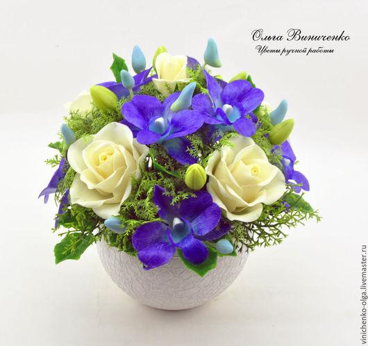 Интерьерные композиции ручной работы. Ярмарка Мастеров - ручная работа. Купить Композиция с розами и сине-фиолетовыми орхидеями. Handmade. Комбинированный