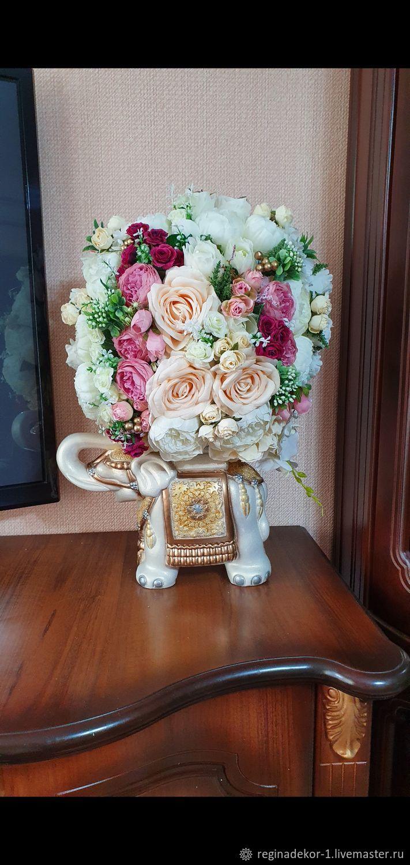 """Композиция из искусственных цветов и материалов """"Слон"""", Композиции, Астрахань,  Фото №1"""