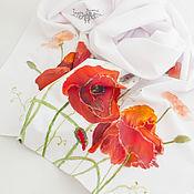 Аксессуары handmade. Livemaster - original item Scarves: Red Poppies scarf, elegant, batik. Handmade.