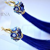 Украшения handmade. Livemaster - original item Soutache tassels with gold-plated Rivoli on sventah. Handmade.