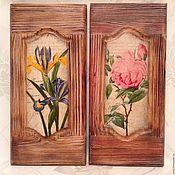 Картины ручной работы. Ярмарка Мастеров - ручная работа Роза и Ирис Винтажные деревянные панно. Handmade.