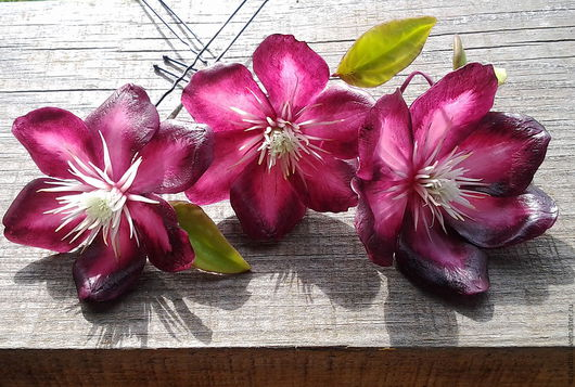 Шпильки с цветами Клематиса,шпильки для волос,шпильки ручной работы