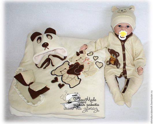 Для новорожденных, ручной работы. Ярмарка Мастеров - ручная работа. Купить Ванильно-шоколадные мишки. Handmade. Комбинированный, интерлок