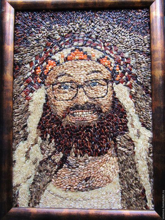 Люди, ручной работы. Ярмарка Мастеров - ручная работа. Купить Портрет семенами и косточками. Handmade. Коричневый, семена и косточки, апликация