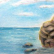 """Картины и панно ручной работы. Ярмарка Мастеров - ручная работа картина сухой пастелью """"Немого о море..."""". Handmade."""