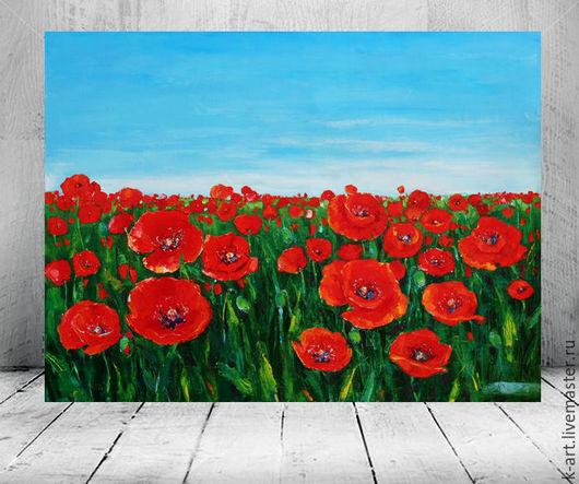 Картины цветов ручной работы. Ярмарка Мастеров - ручная работа. Купить Маковое поле. Handmade. Ярко-красный, спальня