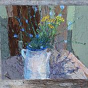 Картины и панно handmade. Livemaster - original item Textile Painting Chicory. Handmade.