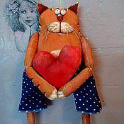 Куклы и игрушки ручной работы. Ярмарка Мастеров - ручная работа Кот с сердцем.. Сердешный котик... Handmade.