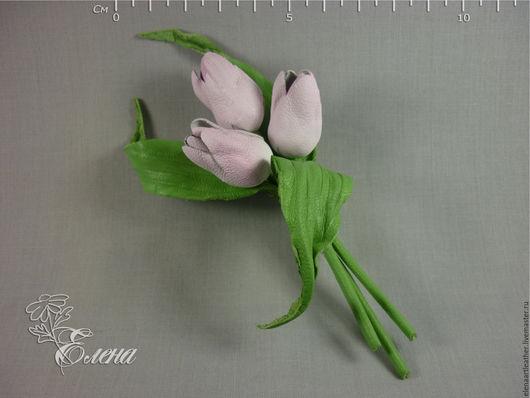 Броши ручной работы. Ярмарка Мастеров - ручная работа. Купить Брошь нежные тюльпаны. Handmade. Бледно-розовый, натуральная кожа