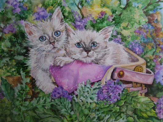 Животные ручной работы. Ярмарка Мастеров - ручная работа. Купить Котята. Handmade. Комбинированный, детям, картина в подарок, животные, акварель
