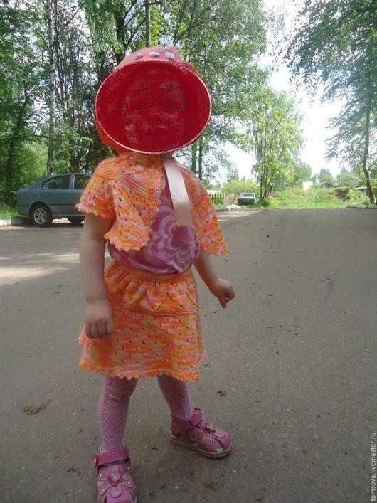 """Одежда для девочек, ручной работы. Ярмарка Мастеров - ручная работа. Купить комплект""""Солнышко"""". Handmade. Рыжий, лето, юбка для девочки"""