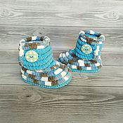 Одежда детская handmade. Livemaster - original item Children`s shoes: knitted plush boots unisex, 12 cm on the foot. Handmade.