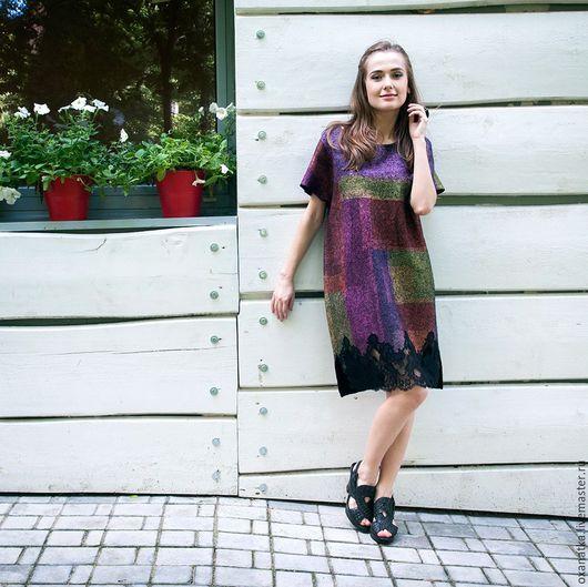 Платья ручной работы. Ярмарка Мастеров - ручная работа. Купить Валяное платье Цветы запоздалые. Handmade. Комбинированный, оксана ткаченко
