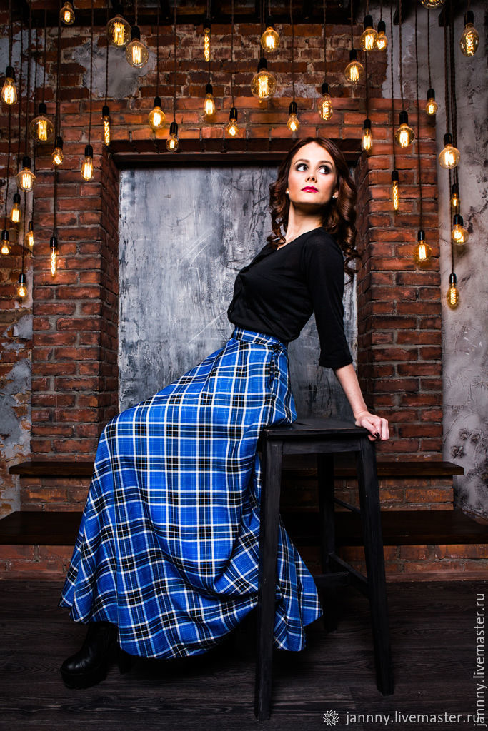 "Юбка полусолнце ""Голубой тартан"", Skirts, Moscow,  Фото №1"