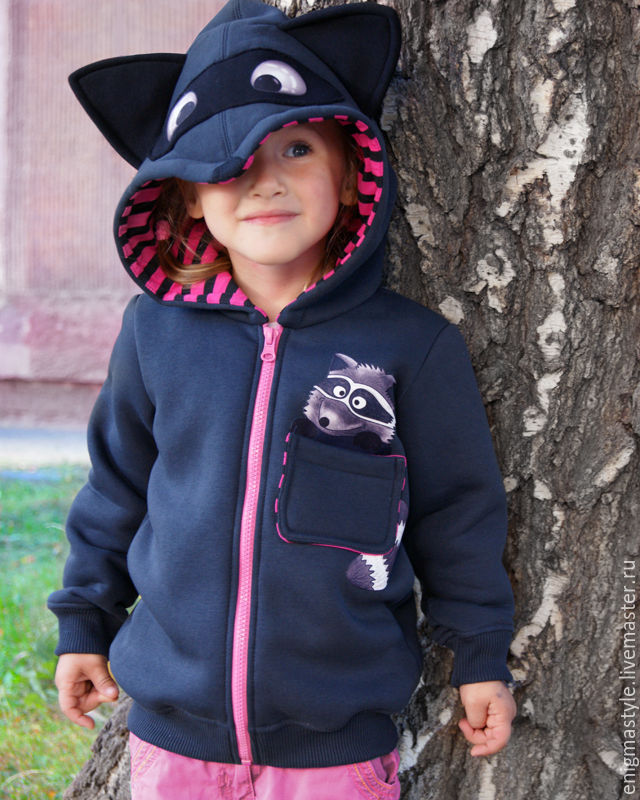 Children's hoodie with zipper Raccoon, hoodie with ears, Sweater Jackets, Novosibirsk,  Фото №1