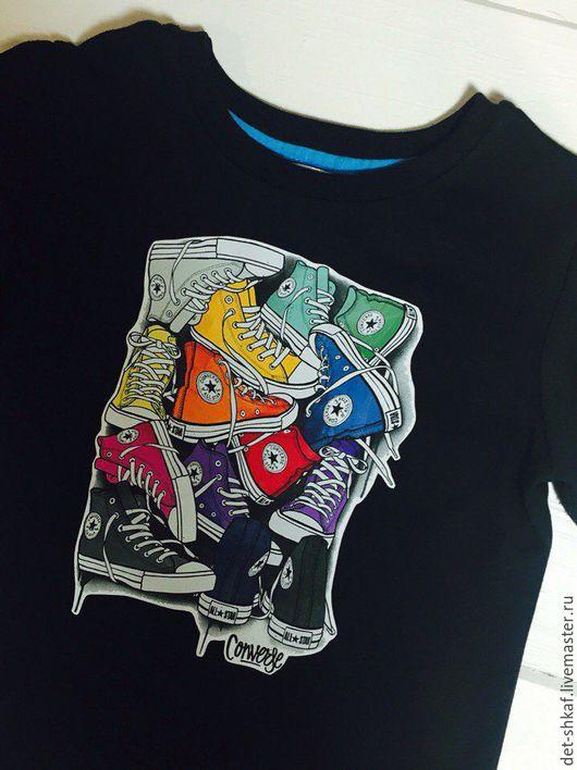 """Одежда для мальчиков, ручной работы. Ярмарка Мастеров - ручная работа. Купить Футболка детская """"Кеды"""". Handmade. Черный, футболка с рисунком"""